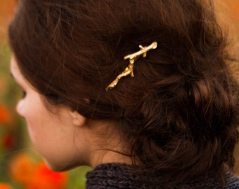 Gold Branch Bobby Pins Branch Hair Pins Gold Brass Twig Hair Clip Woodland Hair Accessory Twig Barrette