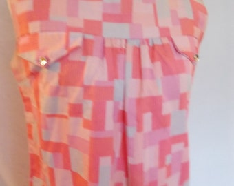 Vintage pink dress 60s pinafore style dress size small