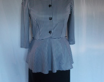 Vintage dress 80s Littlewoods Black white dog tooth check peplum dress size medium