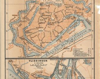 1905 Antique Map of Middelburg and Vlissingen (Flushing), Netherlands (Holland)