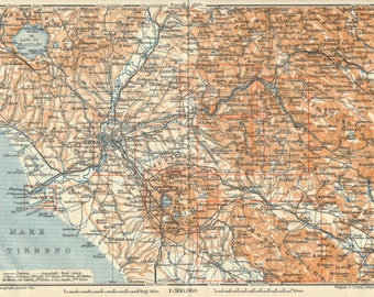 1909 Rome Italy Environs Antique Map
