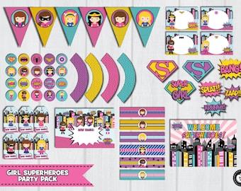GIRL SUPERHERO Party Pack, Girl Superhero Party Set, Superhero Party Kit, Superhero Girl Birthday Party Supplies, Wonder Girl Party Package