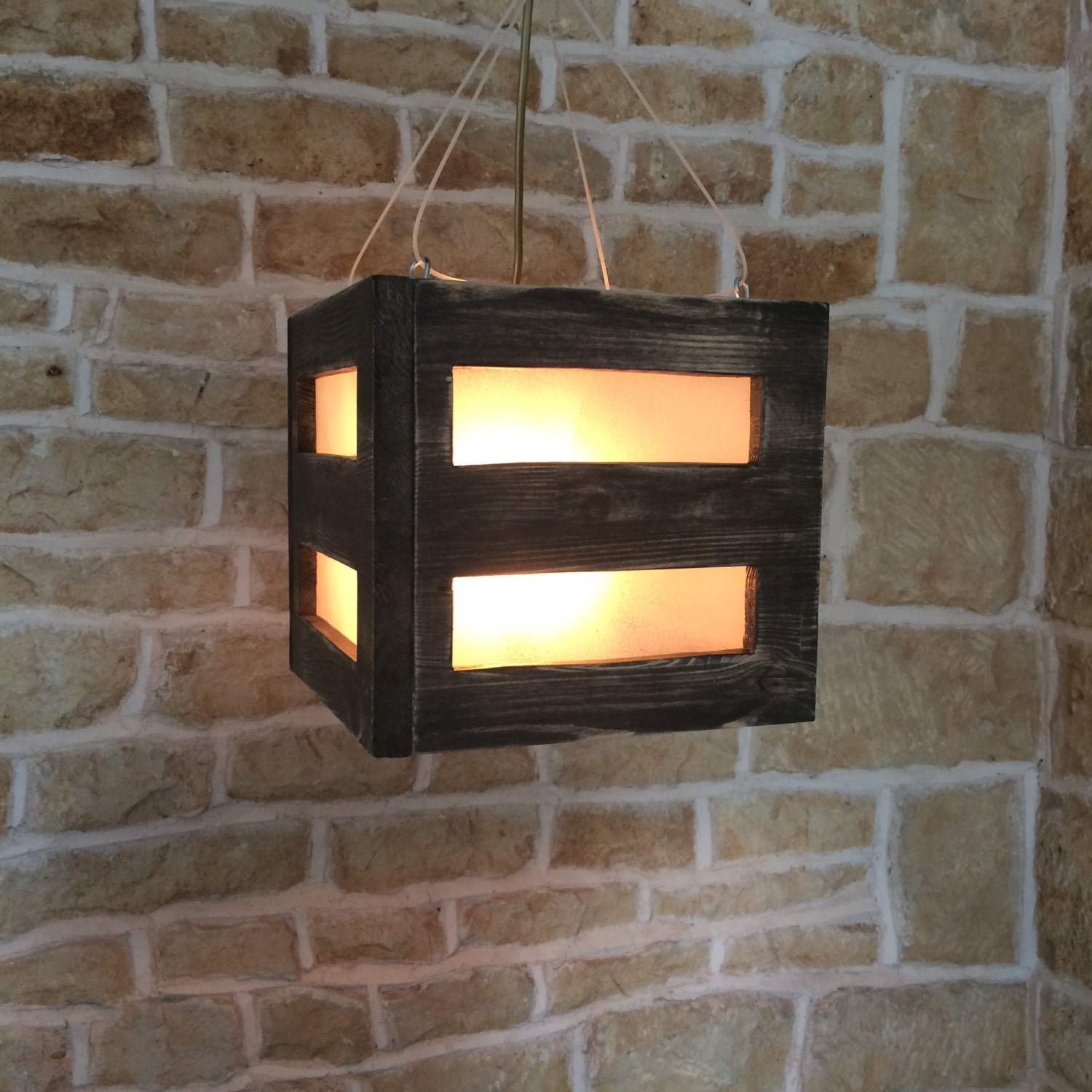 Unusual Rustic Wood Frosted Glass Square Cube Hanging Suspended ... for Square Wood Lamp Shade  585ifm