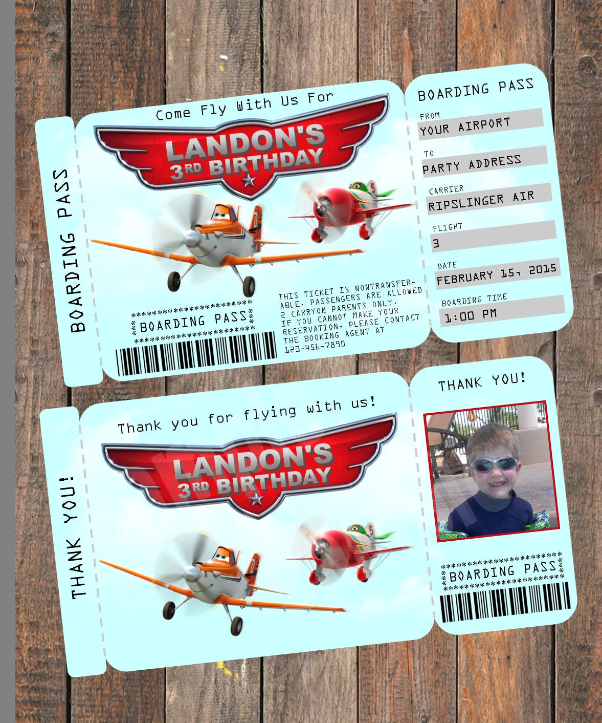Airplane Ticket Boarding Pass Birthday Invitation: Disney Planes Birthday Invitation Plane Ticket By