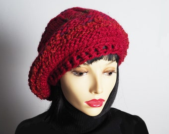 ILSE Red slouchy beanie , Ready to ship, Dreads hat, Rasta tam, Knitted berry beret, Crochet crimson hat, Fashion knit hat, Teen girl hat