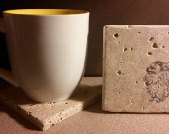 Set of 4 Pomeranian Tumbled  Stone Coasters