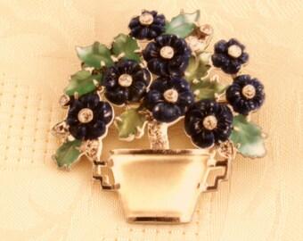 flower pin - flower brooch - flower jewelry - gem brooch - blue flowers - bouquet brooch - spring flowers - shrink plastic - fashion