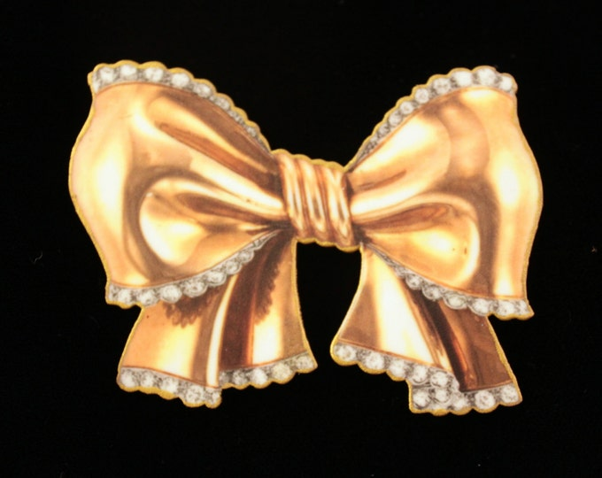 Bow pin - Gold bow pin - Bow brooch - Imitation Gold Bow - Bow jewelry - Gold and Diamond Bow - Vintage Jewelry - Shrink Plastic Art - Faux