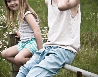 Boys or girls multisized long sleeve pants made from a recycled mens shirt
