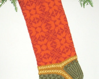 Hand-knit Christmas Stocking, Red Velvet