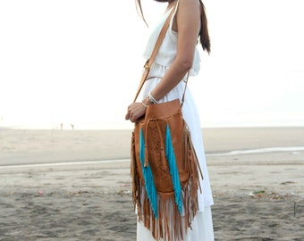 boho fringe leather bag, bohemian leather purse