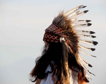 ON SALE kid's Indian headdress Native American style, short length, Indian Inspired warbonnet
