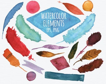 watercolor feathers elements