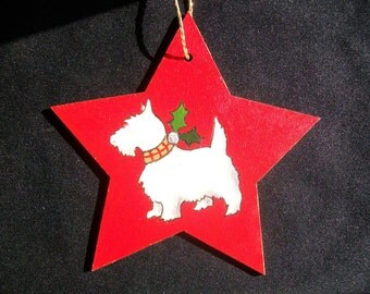 Hand Painted Westie Christmas Tree Decoration