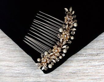 Vintage Style Gold Hair Comb, Pearl Bridal Hair Comb, Crystal Wedding Hair Comb, Floral Bridal Headpiece, Bridal Hair Jewelry
