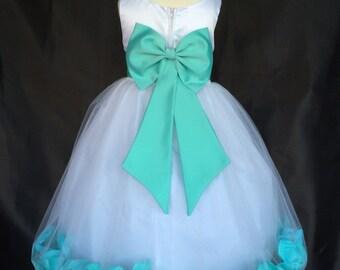 White Flower Girl Bridesmaids Wedding Elegant Toddler Girl Tulle Solid Petal Dresses 2 4 6 8 10 12 14