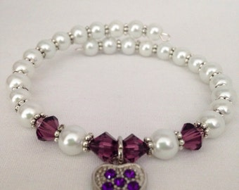 February birthstone bracelet, Amethyst birthstone bracelet, Swarovski bracelet, birthstone jewelry, February bracelet, Amethyst bracelet