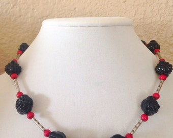 SALE - Black beaded necklace, black necklace, rose necklace, pink bead necklace, beaded necklace
