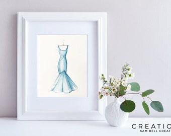 Fashion Illustration Original Watercolor Painting Art - Blue Dress with Swarovskis - 210x297mm