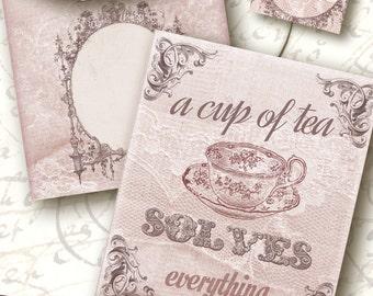 printable Tea Bag Envelope a cup of tea INSTANT DOWNLOAD/  Digital Collage Sheet