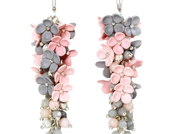 Polymer clay Earrings Polymer clay Jewelry Fashion jewelry Floral Earrings Clay Flowers Grey Pink Long earrings Floral Jewelry Gift for her