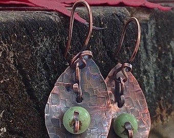 Rustic metal earrings, textured copper teardrop with green gemstone earrings