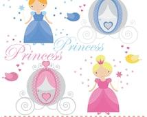 Princess carriage wand and crown pink blue and aqua printable digital clipart set