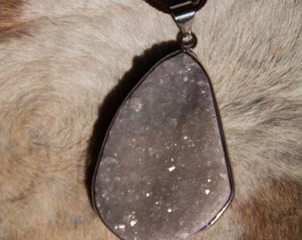 Light Purple/Silver Druzy Necklace