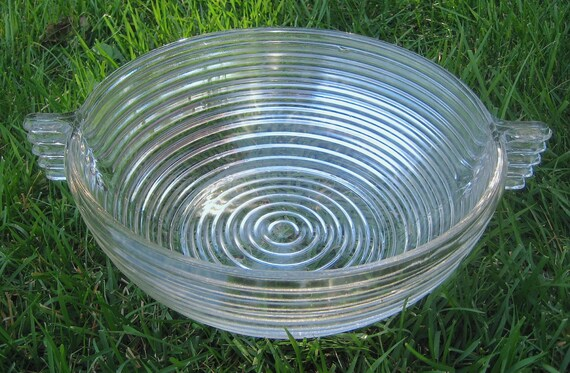 Manhattan Pattern Depression Glass Bowl Large Vintage Ribbed