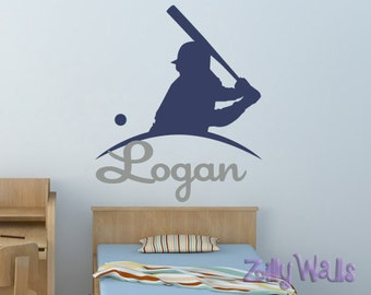 Name Wall Decal baseball wall decal baseball room decor