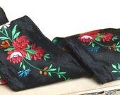 Antique French jacquard ribbon trim, black silk w/ kelly green, red roses, blue & orange accents vintage lovers, craft couture