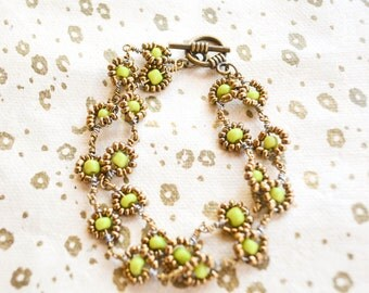 Green and gold Maasai beadwork bracelet
