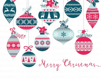 Vintage Christmas Ornaments Clipart. Christmas Clipart. Christmas ...