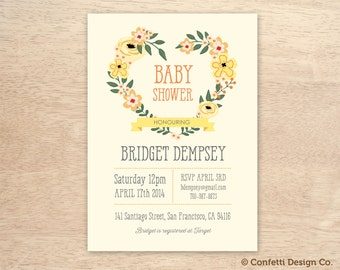 Yellow Floral Heart Wreath - Custom Baby Shower Invitation - DIY printing