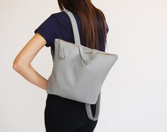 Gray leather backpack, backpack for women, back to school ,student bag, birthday gift, leather school bag, Made to order