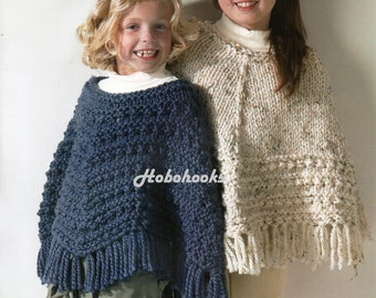 Girls Knitting pattern Girls Ponchos Knitting Pattern Super Chunky Ponchos Childrens Poncho 24-30inch Super Chunky Yarn PDF Instant Download