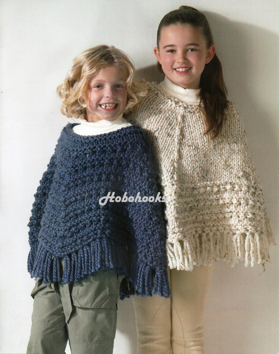 Knitting Pattern For A Little Girl s Cape : Girls Knitting pattern Girls Ponchos Knitting Pattern Super