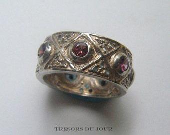 Unique Gemstone Wedding Band, MEDIEVAL WEDDING RING  with pink-red Spinels, Custom Wedding  Ring, Byzantine Wedding Band, Anniversary Band