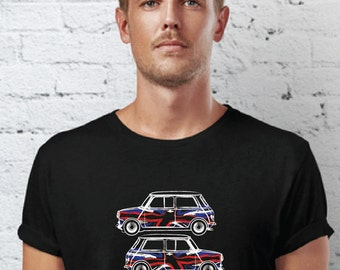 Classic Mini Cooper stacked Union Jack Hand Drawn Car Design T shirt MICL02