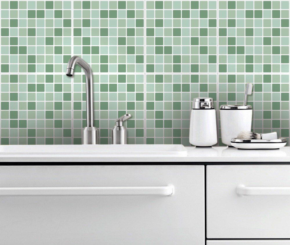 aqua mosaic backsplash decal vinyl backsplash vinyl