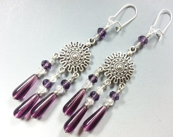 Purple Czech Glass Chandelier Earrings with Tibetan Silver and Sparkiling Crystals