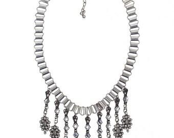 Statement Necklace. Rhinestone Necklace, Wedding necklace, bib necklace, Crystal necklace, pearl necklace (2225)
