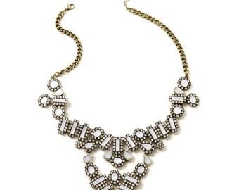 Statement Necklace, Necklace. Rhinestone Necklace, choker necklace, inspired. bib necklace. Crystal necklace, (2253)