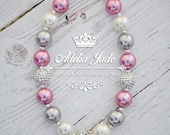Pink Silver Chunky Bubblegum Necklace, Little Girl Chunky Necklace, Baby Chunky Necklace, Bubble Gum Childrens Necklace, Girl Photo Prop