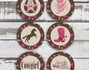 Vintage COWGIRL Cupcake Toppers - Cowgirl Party - Cowgirl decoration - Cowgirl Birthday