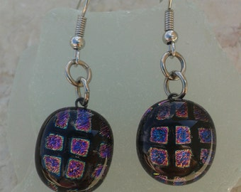 Sparkling Squares - fused dichroic glass earrings.