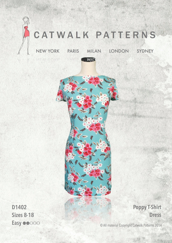 PDF Sewing Pattern Woman's Poppy T-Shirt Dress D1402