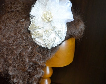 Silver White Beaded Leaf Fascinator