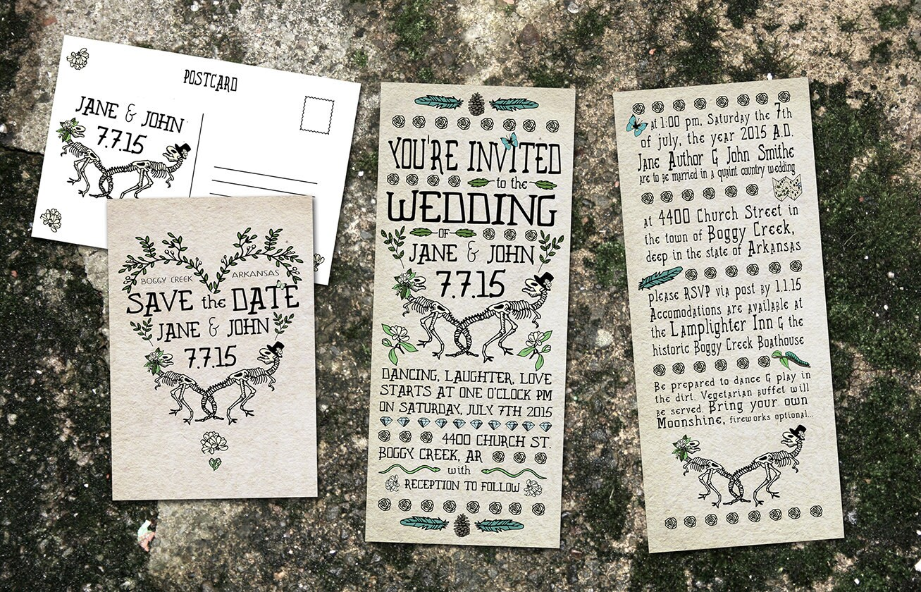 Dinosaur Wedding Invitations: Dinosaur Wedding Premade Customizable Wedding By