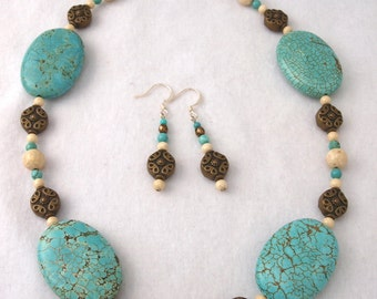 Turquoise Howlite & River Stone Necklace and Earring Set - S002MFL
